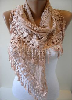 Triangular Salmon Scarf with Trim EdgeSalmon Shawl by MebaDesign, $17.90
