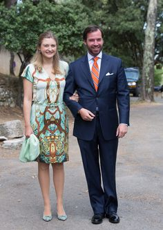 Hereditary Grand Duke Guillaume and Hereditary Grand Duchess Stephanie of Luxembourg arrive for the baptism ceremony of Princess Amalia at the Saint Ferreol Chapel in Lorgues on July 12, 2014 in Lorgues, France.