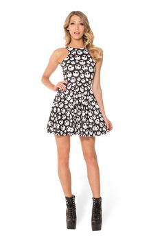 Jack Skellington Reversible Skater Dress (WW $95AUD / US $90USD) by Black Milk Clothing