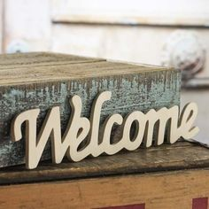"Unfinished Wood ""Welcome"" Script Cutout"