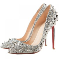 Brand: Christian Louboutin  Color: Silver  MATERIAL:Specchio Leather and Strass  Heel Height: 5 inches approx. - 120 mm approx.  Arch: 5 inches approx. - 120 mm approx.