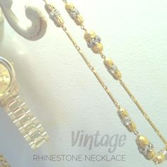 """Vintage Rhinestone Necklace Was $25.  This cool necklace came from an estate sale with awesome fashion from the 40's to 70's!  19"""" long. Vintage Jewelry Necklaces"""