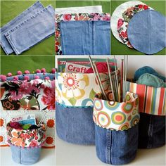 How to DIY Nice Storage Bins from Old Jeans | iCreativeIdeas.com Like Us on Facebook ==> https://www.facebook.com/icreativeideas