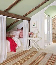 a cozy alcove bed
