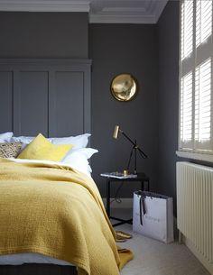 Gray Master Bedroom Design Ideas: Black Bedroom Ideas, Inspiration For Master Bedroom Grey And Gold Bedroom, Grey Bedroom Design, Grey Bedroom With Pop Of Color, Bedroom Colors, Bedroom Designs, Bedroom Yellow, Charcoal Bedroom, Mustard Bedroom, Mustard Walls