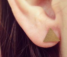 Tiny Triangle Earrings via uncovet.com