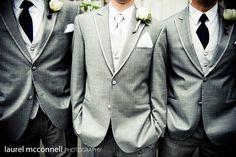 Reversed, groom charcoal, groomsmen grey/silver