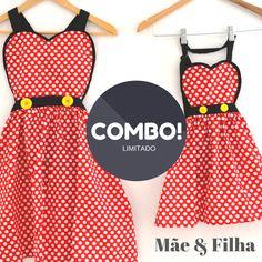 Como de aventais inspirados na Minnie para Mães & Filhas.  Cozinhar com a pequena será ainda mais divertido!