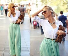 Mint skirt combined with a white blouse