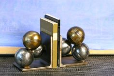 Bocce Ball Bookends, one of a kind,handmade