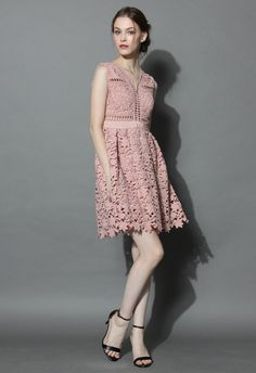 Flourish Crochet Cutout Dress in Nude Pink - New Arrivals - Retro, Indie and Unique Fashion