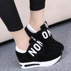Женская обувь 2016 выше в весна и осень Новый стиль свободного покроя обувь на платформе липучки подвеска