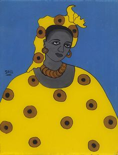 Portrait of a woman by Ibrahima Sall b. 1939, Senegal After 1967 Paint on glass Gift of the Wil and Irene Petty Collection, 2008-5-6