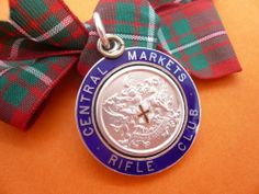 Silver Enamel Watch Fob Medal Central Markets Rifle Club Hallmarked 1908.