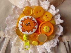 Yellow Sunshine Hug Brooch Send A Hug Corsage by Feeling Under The Weather, Sending Hugs, Say Hi, Friend Birthday, Corsage, Sunshine, Brooch, Yellow, Handmade Gifts