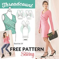 FREE wrap dress and top pattern to download                              …