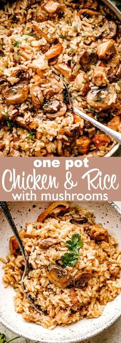 This one pot Chicken and Rice with Mushrooms recipe is smooth creamy hearty comfort food at it s best A tasty and complete meal in one pan chickenandrice mushrooms dinnerideas # Easy Chicken And Rice, One Pot Chicken, Fried Chicken, Chicken And Rice Dishes, Keto Chicken, Chicken Mushroom Recipes, Chicken Recipes, Healthy Recipes With Mushrooms, Chicken Rice Mushroom Casserole