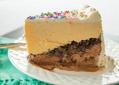 Copycat Dairy Queen Ice Cream Cake - Layers of chocolate ice cream, hot fudge, chocolate crunchies and vanilla ice cream!   browneyedbaker.com