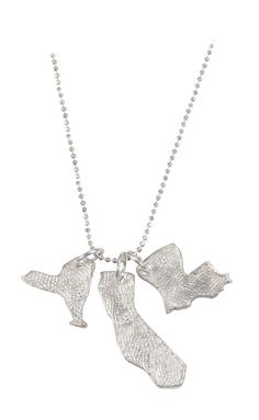 Love Your State Necklace ~ Fine silver necklace with small cubic zirconia over your hometown.  Diamonds upon request.
