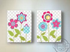 Flower Garden Canvas art  Nursery Decor -  Baby Girl Nursery Decor - Floral Art , Baby Girl Room Decor, Nursery Wall Art