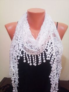 White lace scarf. Pareo by TrendyScarf on Etsy, $12.99