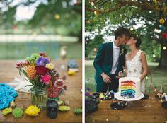 Rainbow layered wedding cake. A Mexican Themed Wedding from She Designs   Simply Peachy Wedding Blog. Photography: James Frost / Venue: Montrose Berry Farm / Flowers: The Grounds Florals