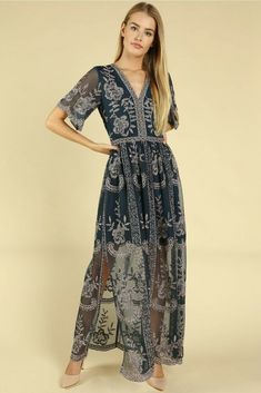 74fe86c8ed5 Details about Wild Honey Purple Lace Embroidered Maxi Dress. Style   ID5009C-6PU