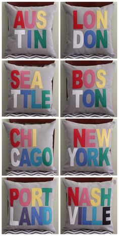 Whether you're a die-hard city dweller or a newbie in town, showing city pride just got a whole lot cuter with these handmade pillows from dirtsa studio. Don't see your city? Word on the street is that custom requests are welcome!