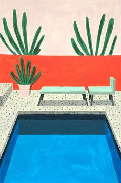 bleu piscine Ana_popescu_its_nice_that__homes / print illustration swimming pool Inspiration Art, Art Inspo, Art And Illustration, Art Plage, Grafik Design, Aesthetic Art, Painting & Drawing, Swimming Pools, Swimming Pool Drawing