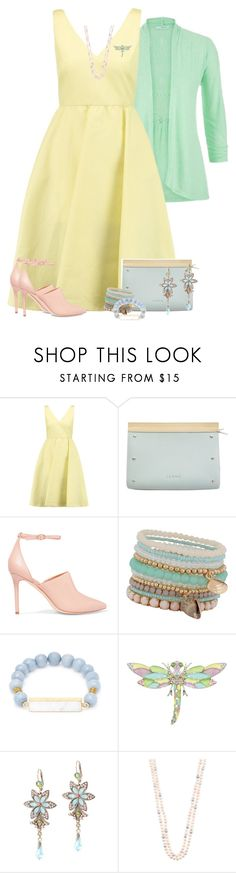 """""""Spring Pastel Dress"""" by majezy ❤ liked on Polyvore featuring maurices, Valentino, Loewe, Halston Heritage, ALDO, Elise M. and Michal Negrin"""