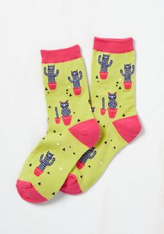 Prickle Me Pink Socks. Get a giggle from your footwear each time you don these quirky crew socks! #green #modcloth