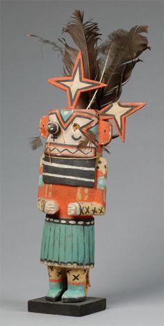 "Sohu katsina ""before 1934"" Hopi Hopi katsina (kachina) doll of Sohu, before 1934. The Sohu katsina, also known as the Star katsina, sometimes serves as a guard katsina. Collected by John L. Nelson."