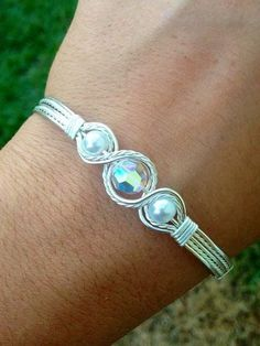 Items similar to Wire Wrapped Silver Bracelet Hand Made Jewelry Pearl Bracelet on Etsy Wire Wrapped Bracelet, Bangle Bracelets, Diy Bracelet, Silver Bracelets, Pearl Bracelet, Silver Ring, Bracelet Charms, Metal Jewelry, Beaded Jewelry