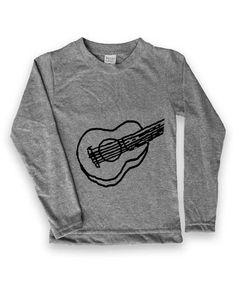 Another great find on #zulily! Heather Gray Guitar Long-Sleeve Tee - Kids &…
