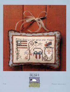 Flag - Cross Stitch Pattern   (......cr.....this is a Shepherd's Bush pattern and very pretty....use a 29-32 count linen and you will have a wonderful little pillow ornament)