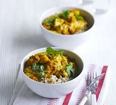 Lentil & cauliflower curry Curry Recipes, Veggie Recipes, Vegetarian Recipes, Healthy Recipes, Free Recipes, Broccoli Recipes, Savoury Recipes, Healthy Dinners, Bbc Good Food Recipes