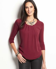 Pleated Chiffon Front Top - the best Ann Taylor shirt I've ever bought! Looks dressy, but forgiving of my post-baby stomach! So sad it's sold out online or I'd buy it in more colors!