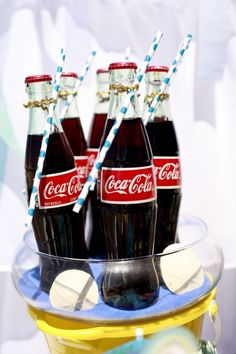 Add a straw & tie and updo your soda bottles! Retro Swim Party- Girl Assembled or Printable options- dessert table drinks, party favor, cake, cake balls, cookies, fruit ideas and more! www.partyondesigns.com