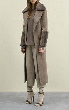 Agnona Cashmere Double Light Bicolor 70'S Coat W/ Mink