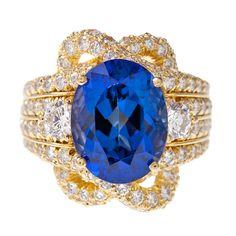 HENRY DUNAY Tanzanite Diamond Yellow Gold Ring