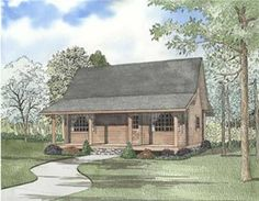 <p>These <strong>Log House Plans</strong> Feature a quaint-feeling, yet elegant Covered Porch and a large Covered Grilling Porch. The Living room is open to the floor above, and the dining room/kitchen have access to grilling porch. The Bedroom on the main floor comes with a bay window and walk-in closet. While the upper floor bedroom also has ample closet space and provides access to attic space. The Second floor also has a Loft with ample closet space and access to attic spa…