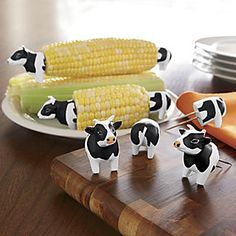 Awesome!!   Set of 4 Cow Corn Holders from Seventh Avenue ®