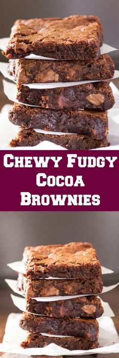 These Chewy Fudgy Cocoa Brownies are better than the brownie mix, and are so simple to make with just a few pantry ingredients required!
