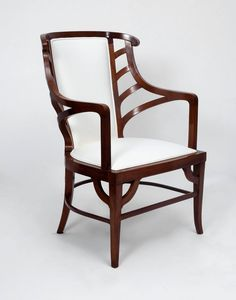 Walnut Art Nouveau Armchair in the Manner of Henry van de Velde | From a unique collection of antique and modern armchairs at https://www.1stdibs.com/furniture/seating/armchairs/
