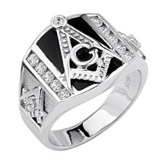 Stunning .925 Sterling Silver CZ and Onyx Embossed Masonic Ring - Masonic Find