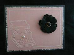 Old typewriter embossed on pink & black card