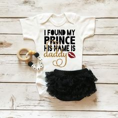 Baby Girl Onesie with matching soft lace ruffle bottom diaper cover. I Found My Prince His Name Is Daddy Outfit. The perfect shirt with some sparkle for your baby girl to wear on Father's Day. Browse the entire collection at www.shopcassidyscloset.com