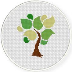 Abstract Tree Cross Stitch Illustration