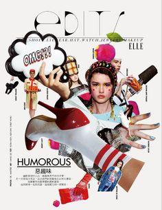 ELLE Taiwan Magazine Layout Design, Book Design Layout, Page Design, Music Collage, Collage Book, Editorial Layout, Editorial Design, Fashion Design Portfolio, Publication Design