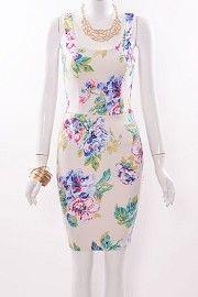 Flower Print Cutout Cage Back Fitted Dress  #shopsylk#sylkstores#spring#floral#print